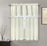 3 Pc White Kitchen Window Curtain Set: Faux Silk, Pearl White Raised Pin Dots Floral Design