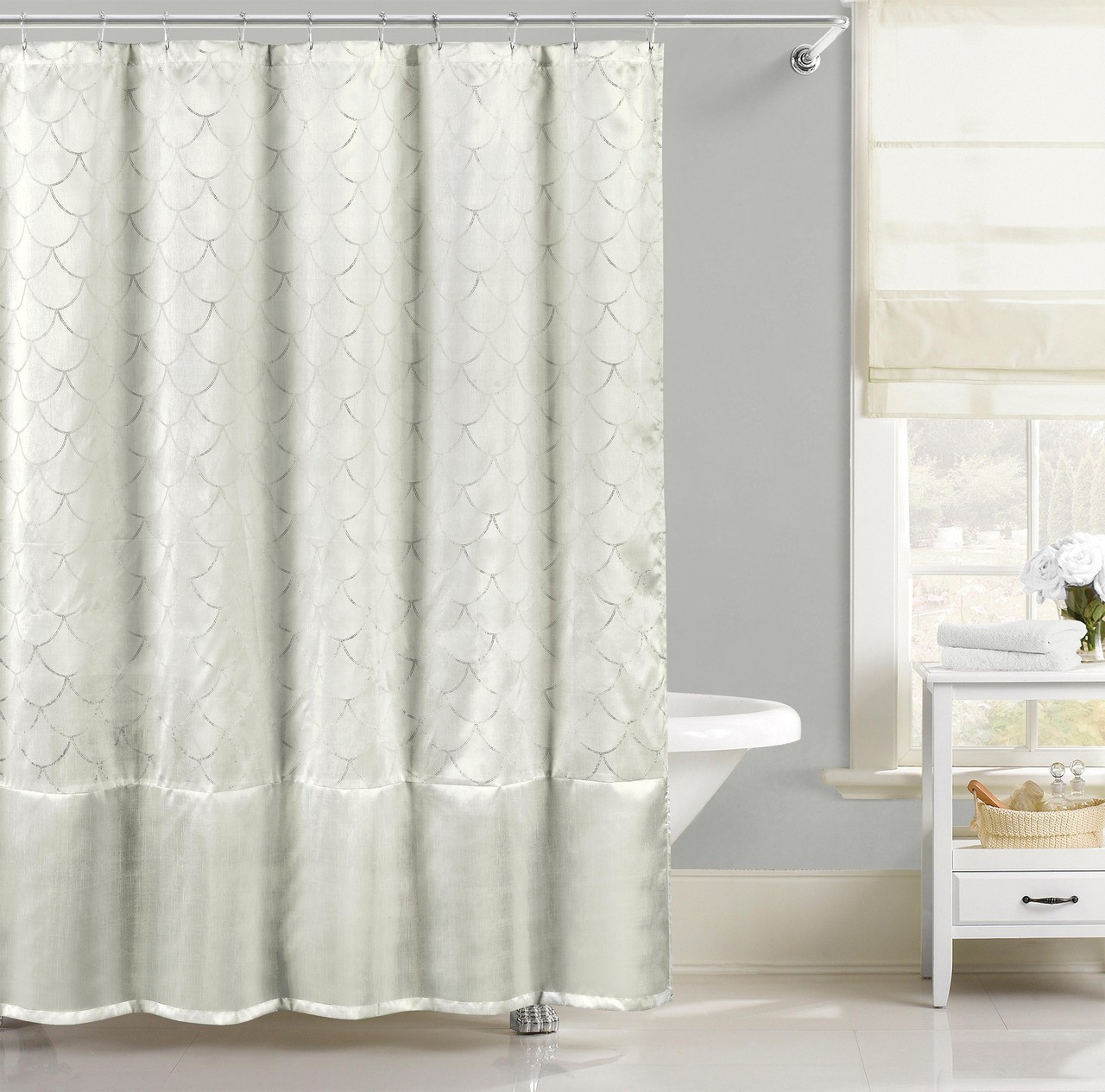 White Faux Silk Fabric Shower Curtain With Pearl Silver Raised Pin Dots