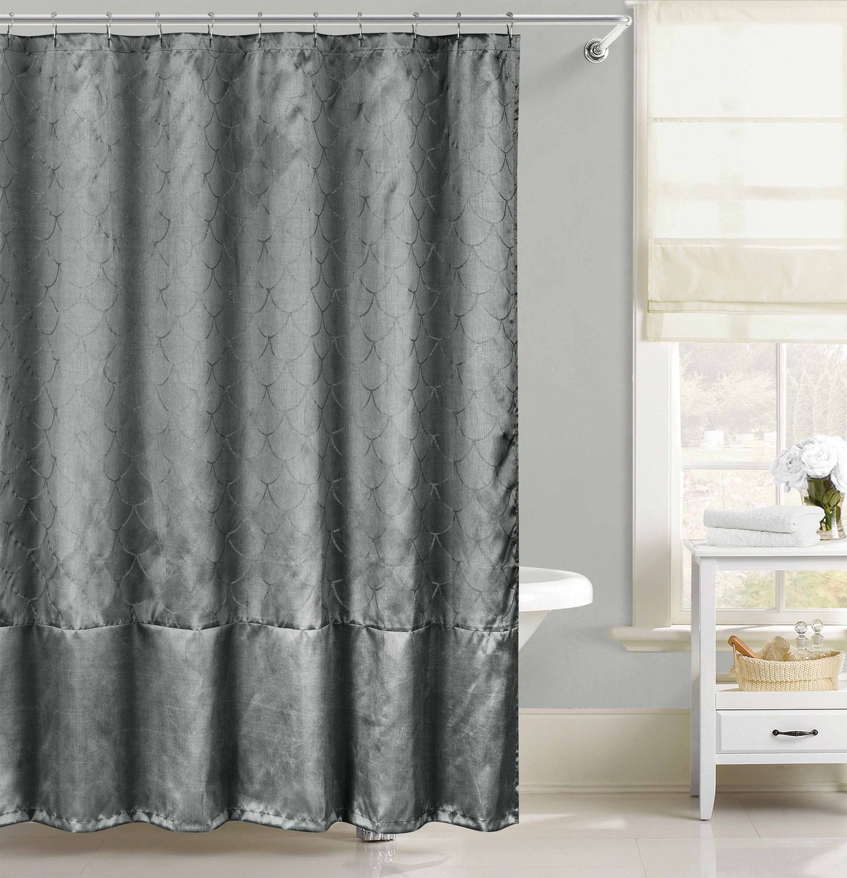 Beau Gray Faux Silk Fabric Shower Curtain With Metallic Silver Raised Pin Dots