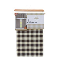 Chocolate Brown and Beige Gingham Check 3 Piece Kitchen Window Curtain Set