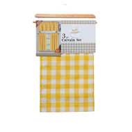 Yellow Check 3 Piece Kitchen Window Curtain Set
