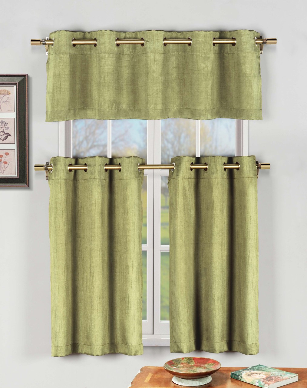 Sage Green 3 Pc Kitchen Window Curtain Set with Silver Metal Grommets: 1  Valance, 2 Tier Panels