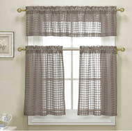3 Piece Taupe Sheer Kitchen Curtain Set: Woven Check Design, 1 Valance, 2 Tier Panels