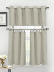 3 Piece Textured Cotton Blend Silver Taupe Jacquard Kitchen Window Curtain Set