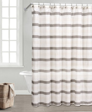 Taupe, Ivory and Beige Fabric Shower Curtain