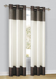 "Chocolate, Mocha and Beige Sequined Window Panel Curtain with Metal Grommets  Size:  54""x84"""