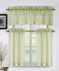 Metallic Taupe 3 Piece Kitchen Window Curtain Set: 1 Valance, 2 Tier Panels