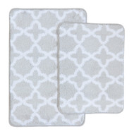 2 Pc Plush Moroccan Trellis Print Bath Mat/Area Rug Set: Silver and White, Non-Skid Backing, 20in x 32in and17in x 24in