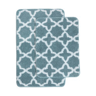 2 Pc Plush Moroccan Trellis Print Bath Mat/Area Rug Set: Blue and White, Non-Skid Backing, 20in x 32in and17in x 24in