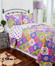 3 Pc  Reversible Quilt Set: Green White Fuschia Blue Gold Floral Moroccan Medallion Design, One Quilt and Two Shams