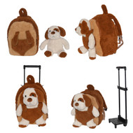Kids/Toddler Brown Rolling Backpack with Removable Stuffed Plush Puppy