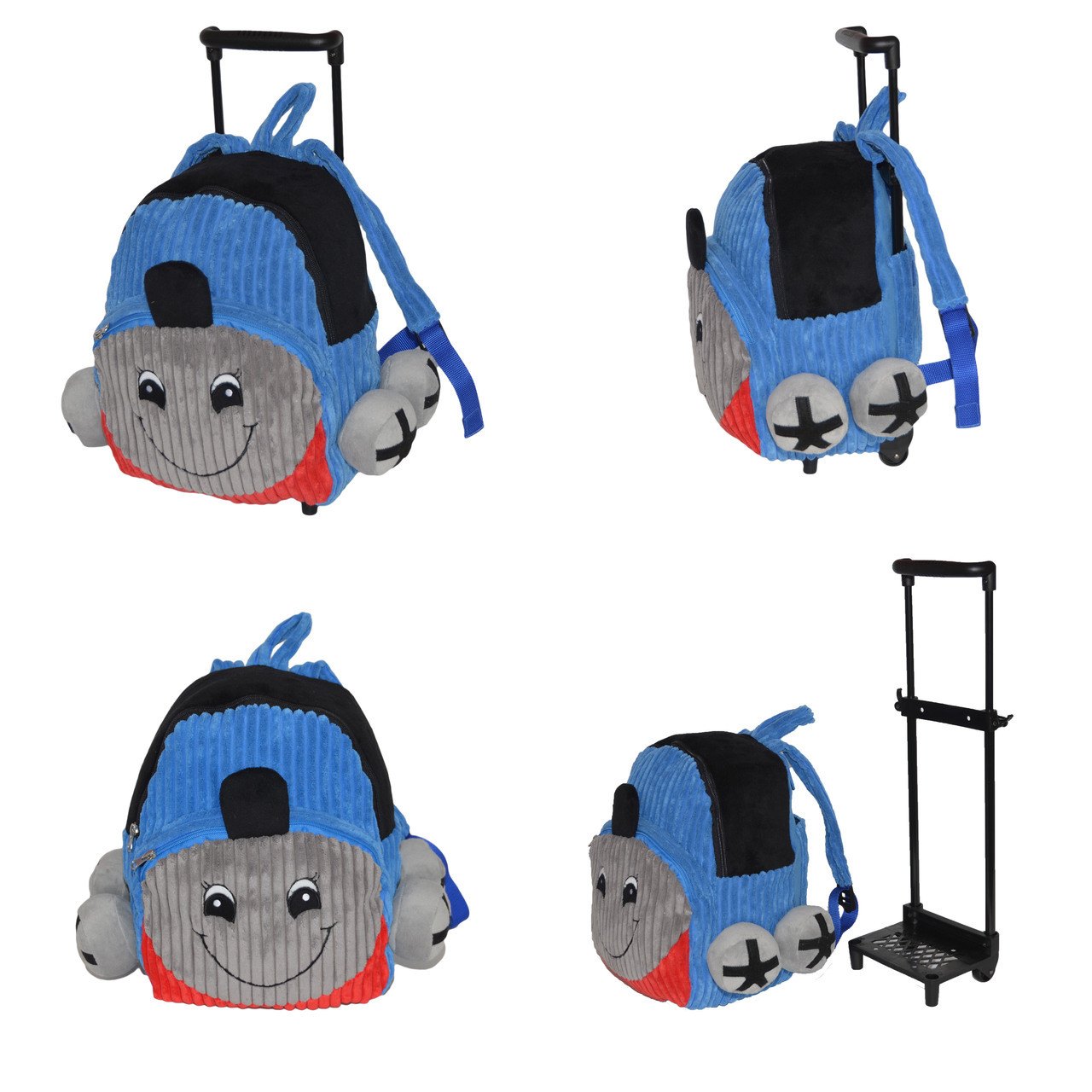 94c2474cfc62 ... Blue Train Kids Plush Rolling Carry-On Luggage Backpack with Removable  Telescopic Handle. Price   44.99. Image 1