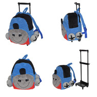 2-in-1 Blue Train Kids Plush Rolling Carry-On Luggage/Backpack with Removable Telescopic Handle