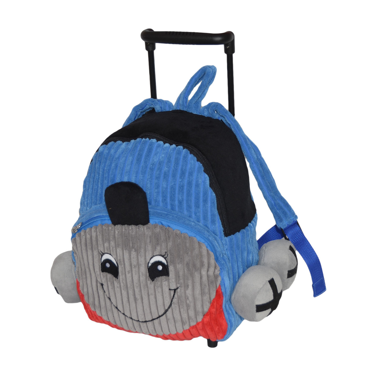 ca43a3c7d7f8 Blue Train Plush Rolling Backpack