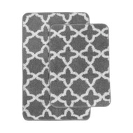 Charcoal Gray and White Plush Moroccan Trellis Print Bath Mat/Area Rug Set: Charcoal Gray and White, Non-Skid Backing