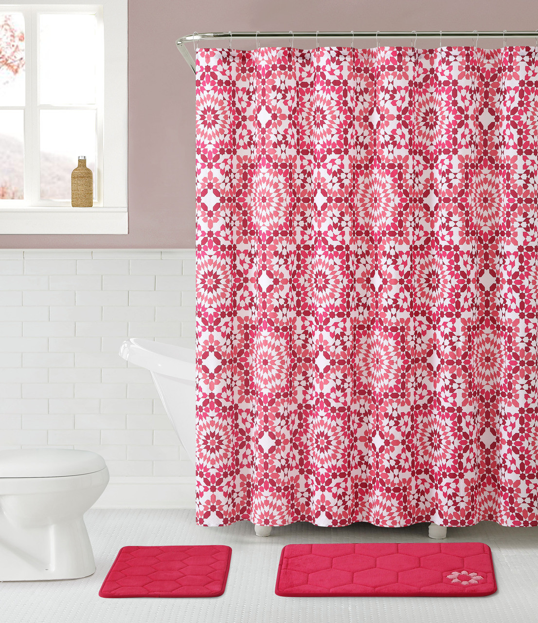 Pink Bathroom Set 2 Memory Foam Floor Mats Fabric Shower Curtain