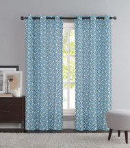 "Blue and Ivory Two Piece Window Curtain Panels: Grommets, iKat Geometric Design, 76"" x 84"" Long"