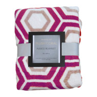 Printed Plush Fleece Throw Blanket: 50in x 60in Geometric Dark Lilac and Taupe