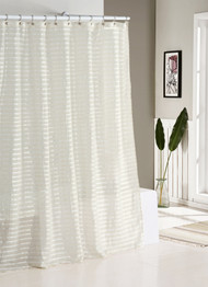Fabric Shower Curtain: Natural Linen Blend, White and Ivory Stripes