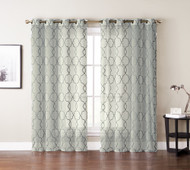 "Single (1) Window Curtain Panels: Ivory/Beige Textured Sheer, Gray Embroidered Moroccan Trellis Design, Silver Grommets, 55"" W x 84"""