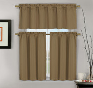 3-Piece Brown Jacquard Kitchen Window Curtains: 1 Valance, 2 Tiers