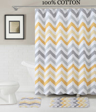 3 Pc. Bath Set: Shower Curtain and 2 Mats, Chevron Zig Zag Design, Yellow, White and Gray, 100% Cotton