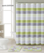 3 Pc. Bath Set: Shower Curtain and 2 Mats, Stripe and Brick Design, Green, Silver and Gray, 100% Cotton