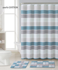 3 Pc. Bath Set: Shower Curtain and 2 Mats, Stripe and Brick Design, Blue, Silver and Gray, 100% Cotton