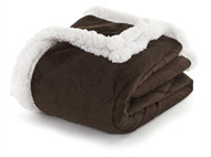 "Dark Chocolate Brown and White Sherpa Plush Fleece Throw Blanket: Reversible, 50"" x 60"""