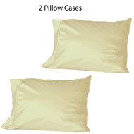 Set of two (2) Beige Soft 100% Satin Pillowcases: Standard Queen