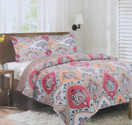 3 Piece Reversible Quilt Bedspread Throw Set: 2 Shams, Red, Spa Green, Brown and Pale Orange Floral Moroccan Design
