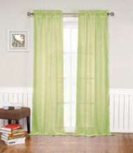 "Green Rod Pocket Window Curtain Panel: Textured Semi-Sheer, 52""W x 84""L, Single Panel"