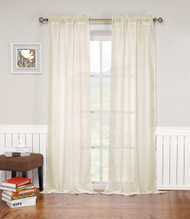 "Beige Rod Pocket Window Curtain Panel: Textured Semi-Sheer, 52""W x 84""L, Single Panel"