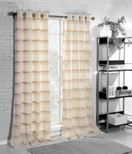 "SIngle (1)  Grommet Window Curtain Panel: Natural Linen Blend, 54"" x 84"", Beige, Ivory  Stripes"