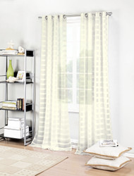 "Ivory Single (1) Textured Semi-Sheer Grommet Window Curtain Panel: Stripe Design, 52"" x 84"""