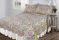 Multicolor 3 Pc Queen/Full Size Reversible Quilt Set:  Paisley Design, One Quilt and Two Shams