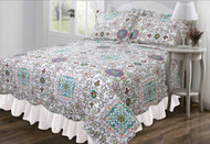 3 Pc Queen/Full Size Reversible Quilt Set:  Floral Design, Multi Color, One Quilt and Two Shams
