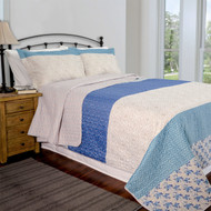Queen, 3 Piece Quilt Set, Blue, Taupe, Floral