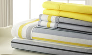 "6-Piece Bed Sheet Set: Gray, White and Yellow Stripe, 16"" Pocket,  2 Extra Pillowcases"