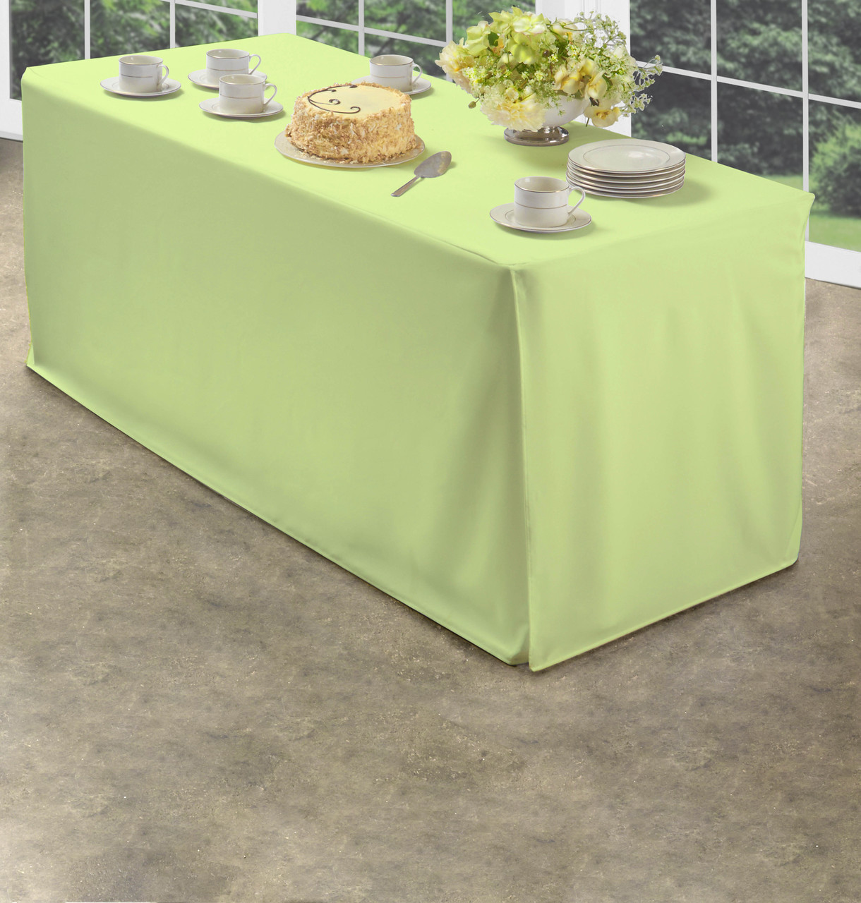 Green Folding Table Tablecloth Heavy Fabric Split Corners To The