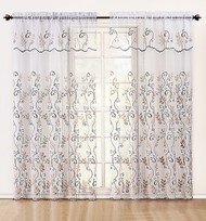 """White and Gold Embroidered Sheer Window Curtain Panel: Attached Valance:, 55"""" x 90"""""""