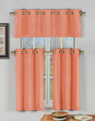 Salmon 3 Pc Kitchen Window Curtain Set with Silver Metal Grommets: 1 Valance, 2 Tier Panels