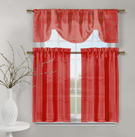 3 Piece Set of Embroidered Kitchen Window Panels - Red