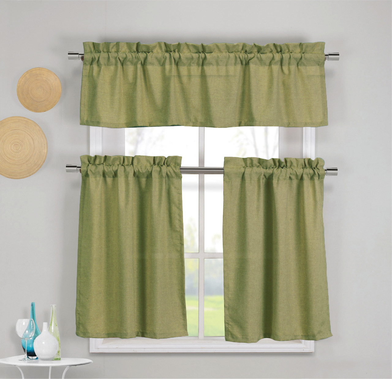 3 piece faux cotton moss green kitchen window curtain panel set with