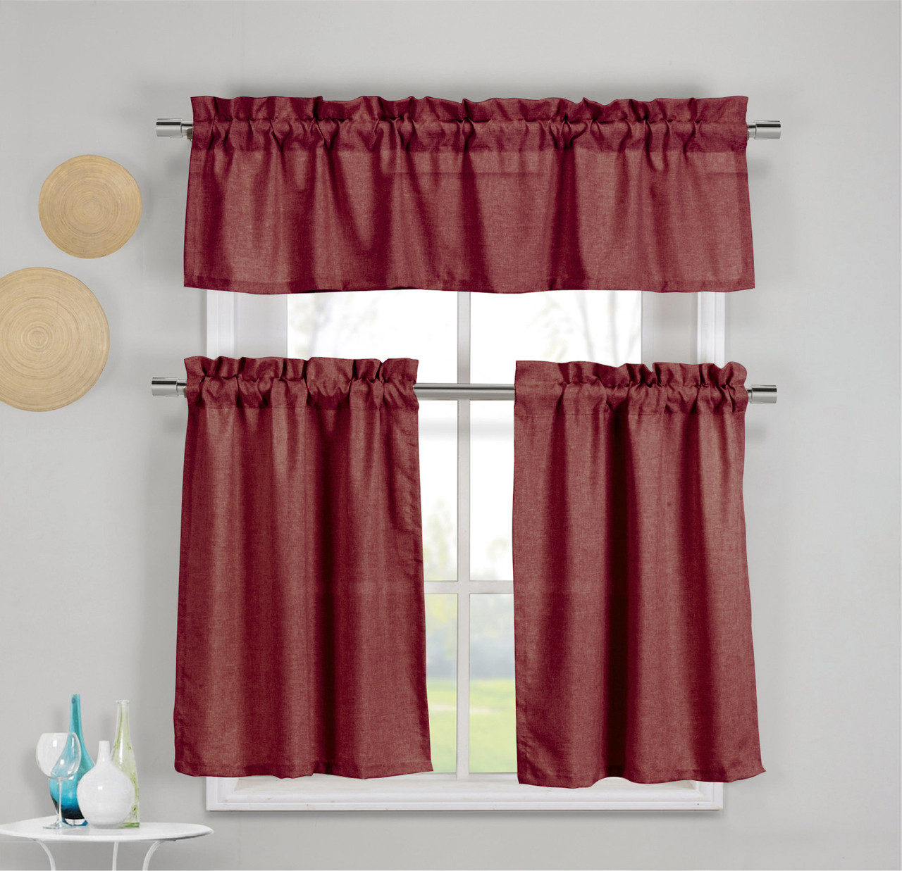 3 Piece Faux Cotton Wine Red Kitchen Window Curtain Panel Set With 1