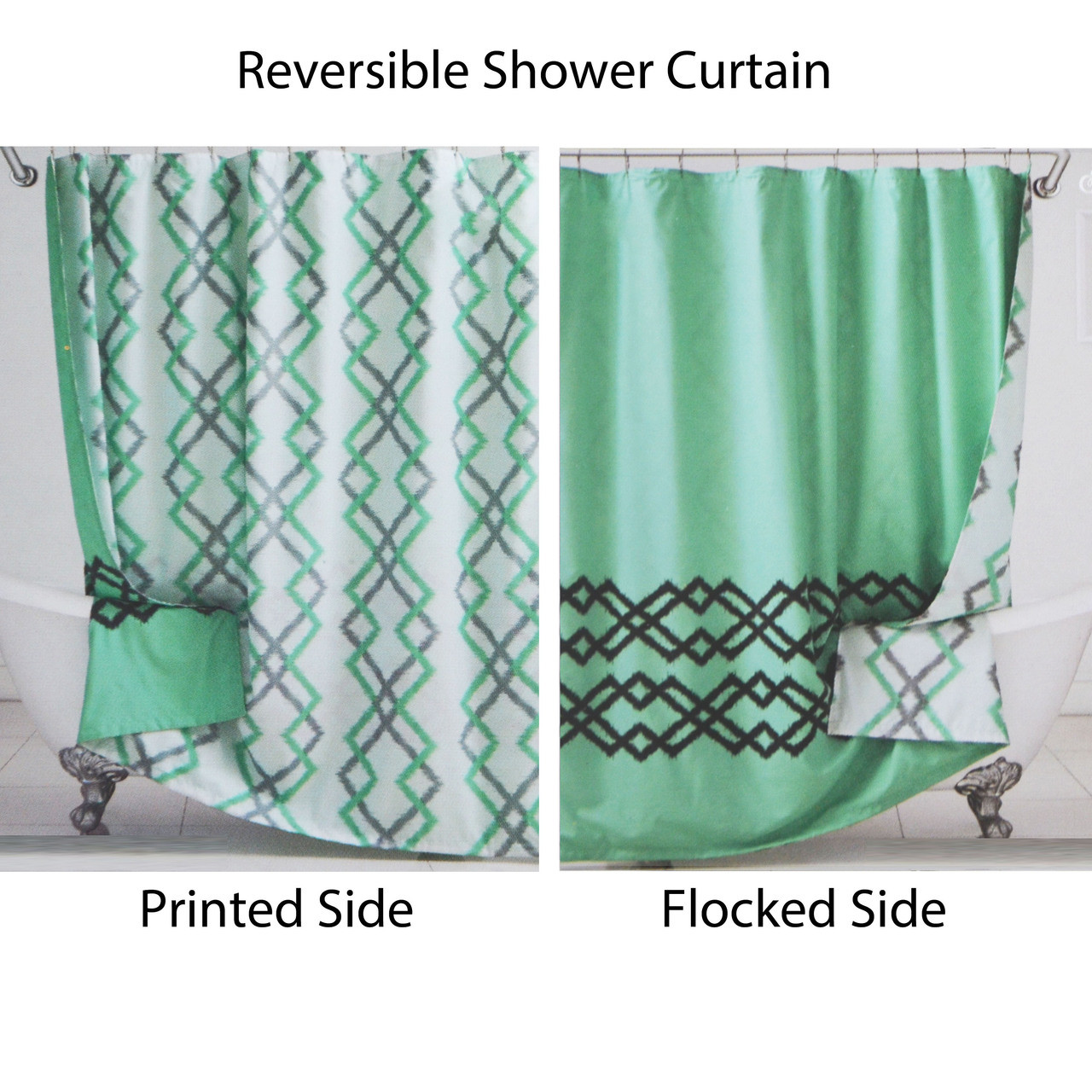 Reversible Fabric Shower Curtain Green White Gray Ikat Design