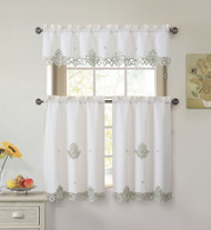 3 Piece Doily Embroidered Kitchen Window Curtain Set: Beige and Sage, 1 Valance and 2 Tiers