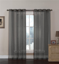 Charcoal Gray Sheer Textured Window Curtain Panel 2 Pc Set: Grommets, 108 x 84