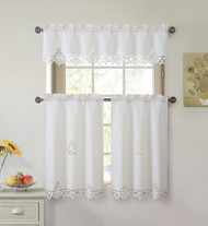 3 Piece Doily Embroidered Kitchen Window Curtain Set: Beige 1 Valance and 2 Tiers