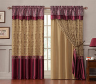 "Double-Layer Window Curtain Drapery Panel: Gold Back Panel with Burgundy Embroidered Sheer Front and Valance, 55""x90"""